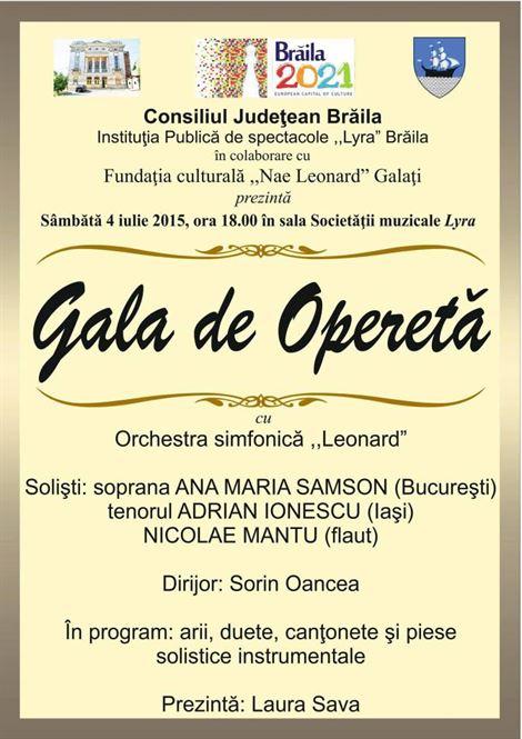 Gala de Opereta, sambata la Sala Lyra