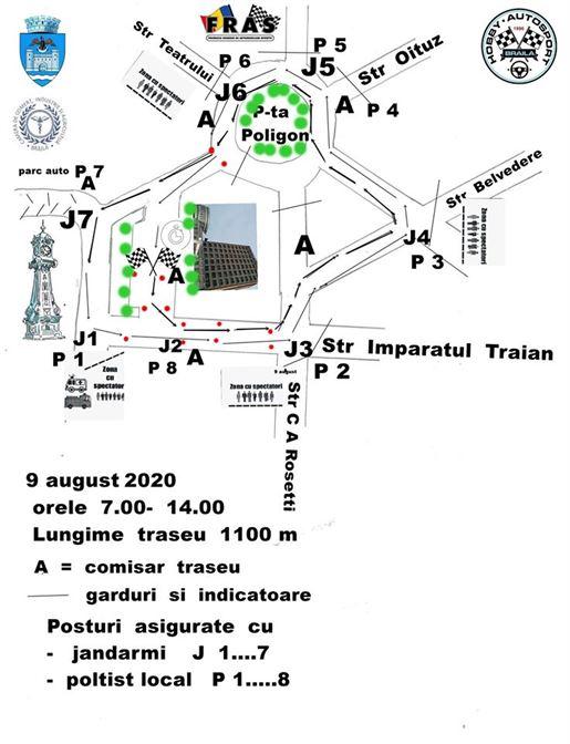 Concurs Național de Autoslalom la Brăila. Circulația auto restricționată în zona Piața Traian modifică traseele Braicar pe durata desfășurării concursului