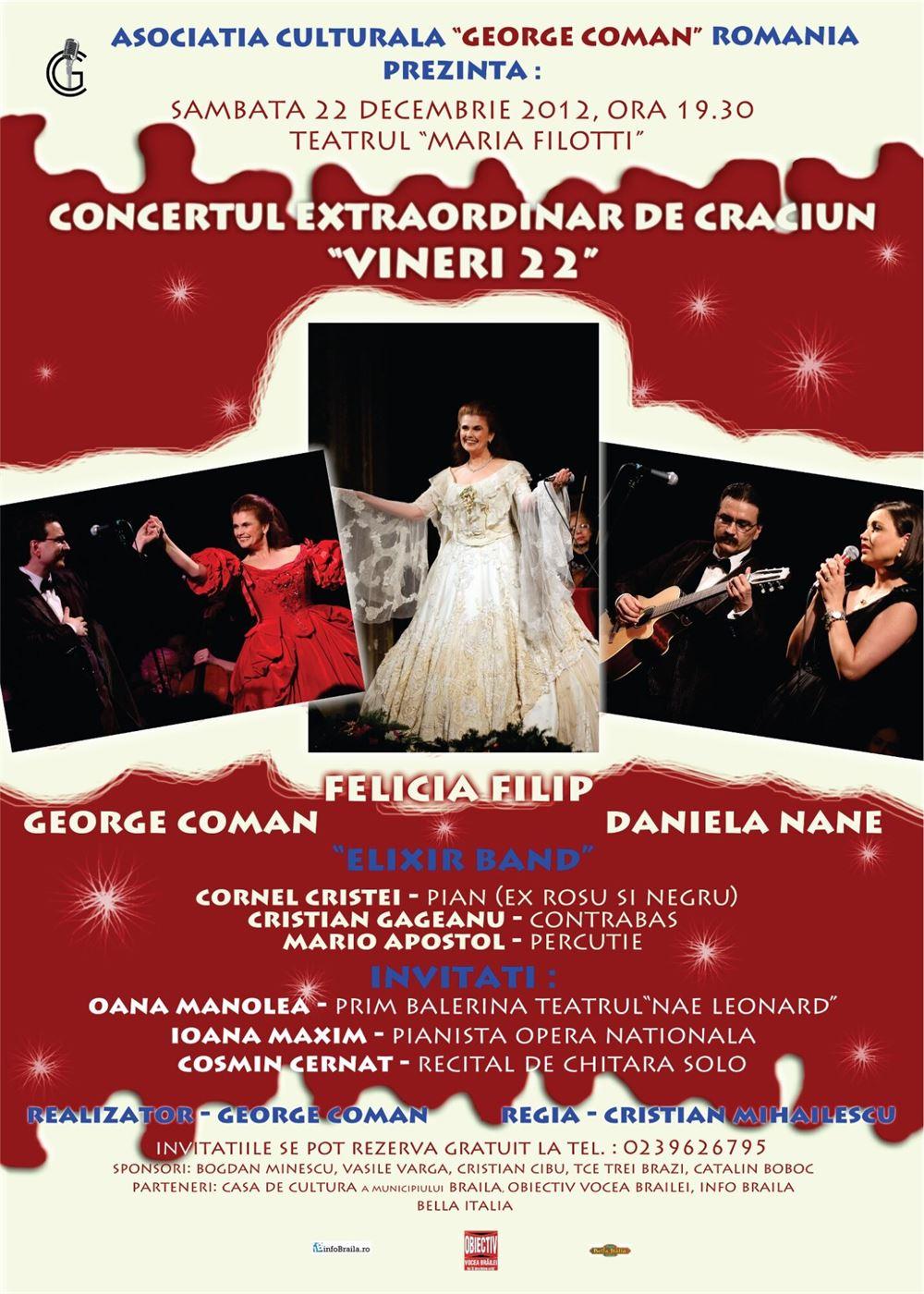 Felicia Filip alaturi de Giorgiu Coman, intr-un concert extraordinar de Craciun, dedicat Revolutiei din 1989