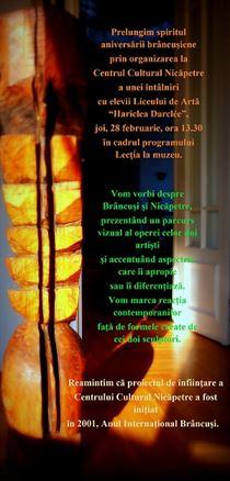 Sunteti invitati astazi la o dubla aniversare de suflet: Nicapetre si Brancusi