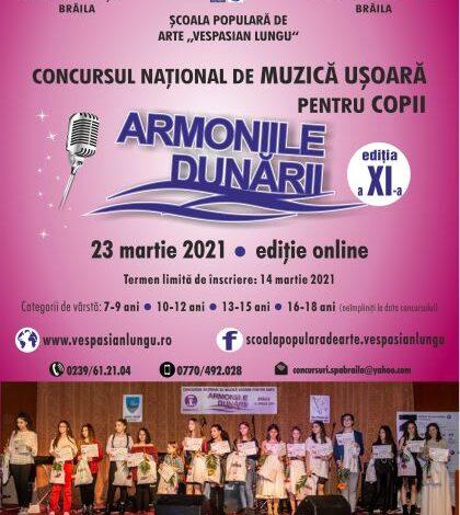 """Înscrieri la Concursul Naţional de Muzică Uşoară pentru Copii """"ARMONIILE DUNĂRII"""""""