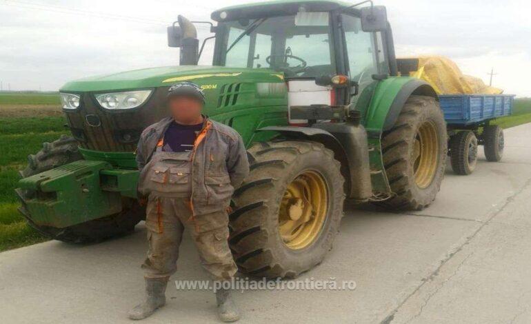 Fără permis pentru nicio categorie, conducea un tractor cu remorcă pe DJ212A