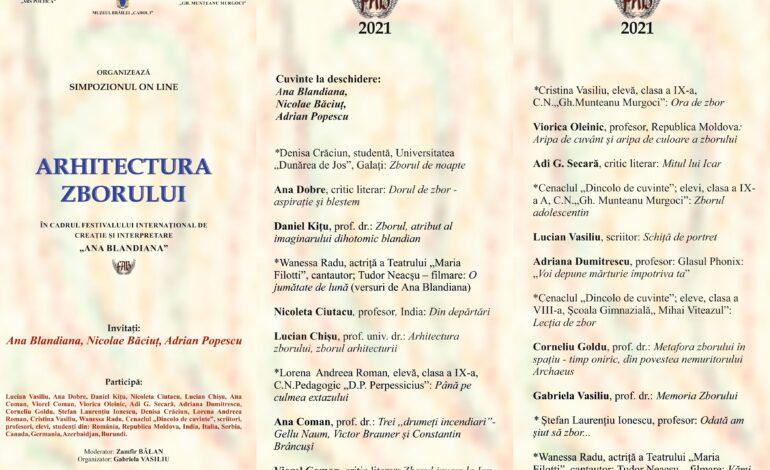 """Simpozion online în cadrul Festivalului Internațional de Creație și Interpretare """"Ana Blandiana"""""""