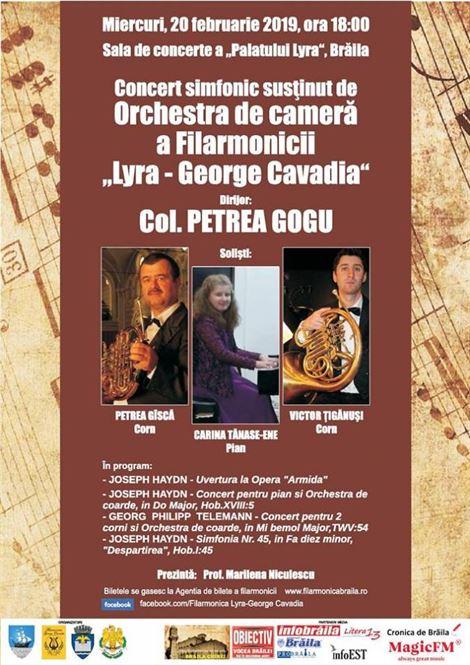 """Concert simfonic al Orchestrei de Cameră a Filarmonicii """"Lyra George Cavadia"""""""