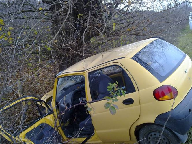 O tanara din Visani a intrat cu masina intr-un copac