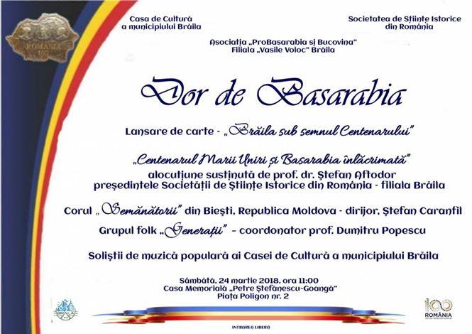 Dor de Basarabia, la 100 de ani de la unirea cu Romania