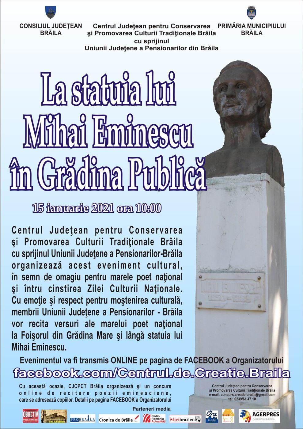 La statuia lui Mihai Eminescu în Grădina Publică