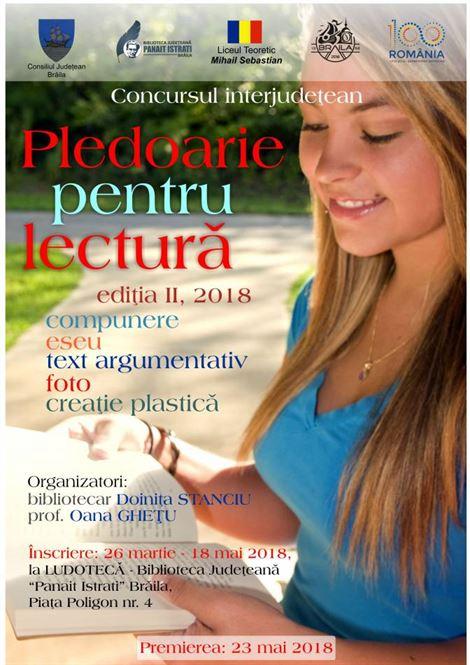 """Concurs regional """"Pledoarie pentru lectura"""""""