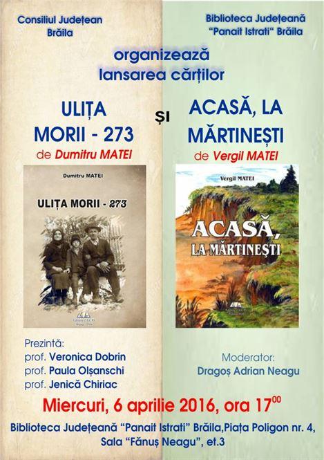 Dubla lansare de carte la Biblioteca Judeteana Braila