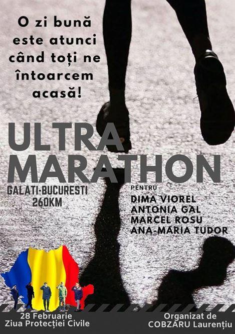 Ultramaraton pe distanța traseul Galați – Brăila – București, pentru un scop caritabil
