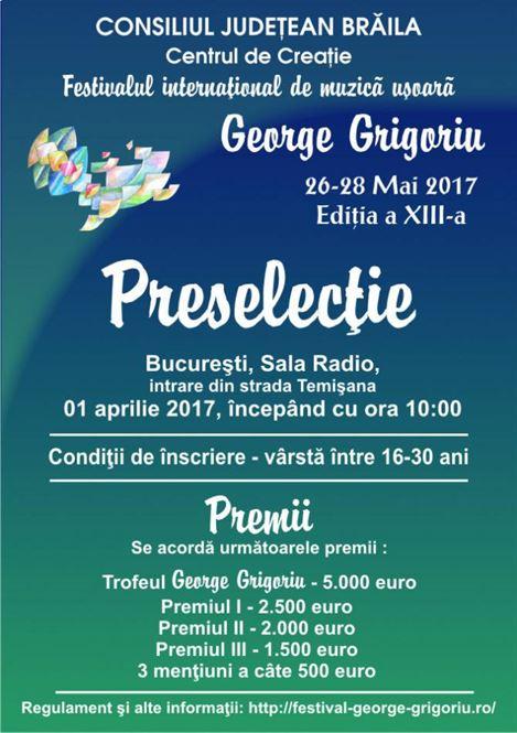 """Au inceput inscrierile pentru Festivalul """"George Grigoriu"""""""