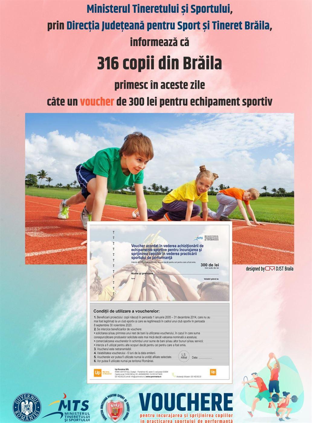 Tichetele voucher sportiv au ajuns la Brăila