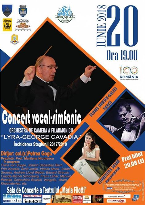 "Concert vocal-simfonic sustinut de Orchestra de Camera a Filarmonicii ""Lyra-George Cavadia"" Braila"