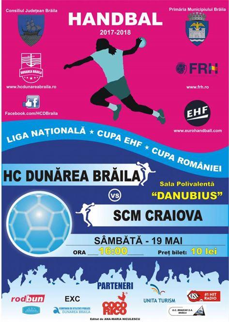 Ultimul meci pentru HC Dunarea in acest sezon, acasa cu castigatoarea Cupei EHF, SCM Craiova