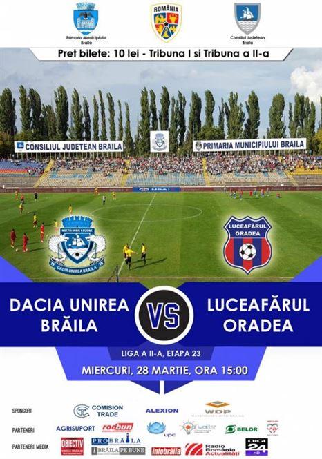Dacia Unirea nu are decat varianta victoriei in meciul de astazi, cu Luceafarul Oradea