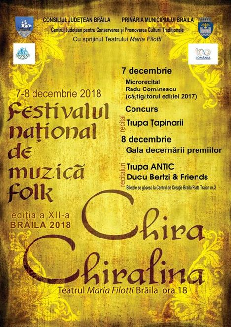 """Două seri de folk, pe 7 și 8 decembrie, la Festivalul """"Chira Chirilina"""""""