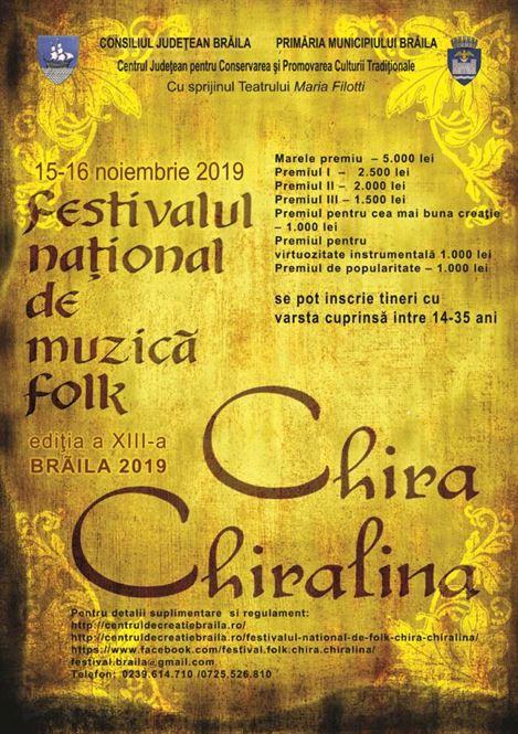 Până pe 8 noiembrie se fac înscrierile la Festivalul de folk Chira Chiralina