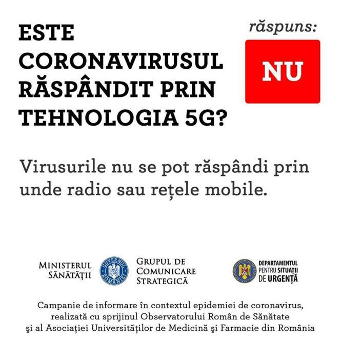 Ministerul sănătății: Coronavirusul nu este răspândit prin tehnologia 5G