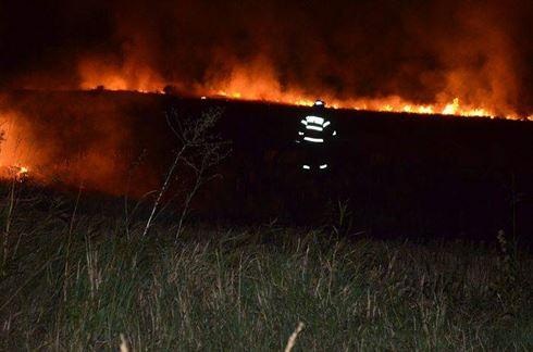 Incendiu pe un teren de lângă șoseaua dig Brăila-Galați