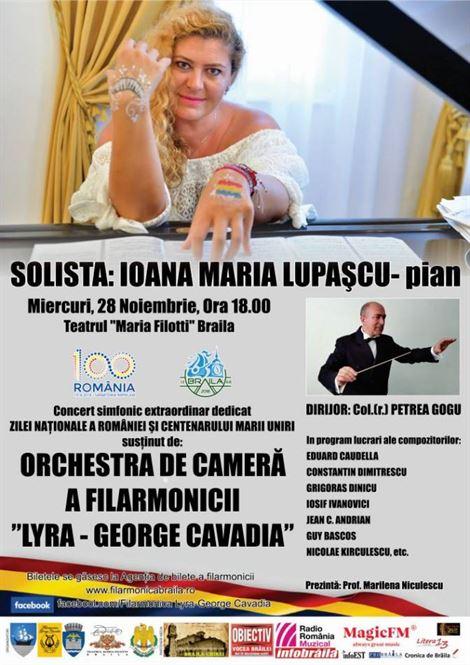 """""""Concert Simfonic Extraordinar"""" dedicat Zilei Naționale a României și Centenarului Marii Uniri"""