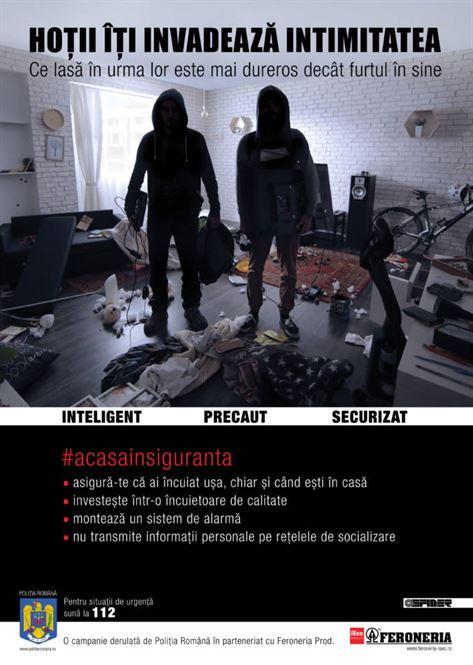"""Campanie de prevenire a furturilor din locuinţe """"Hoţii îţi invadează intimitatea"""""""
