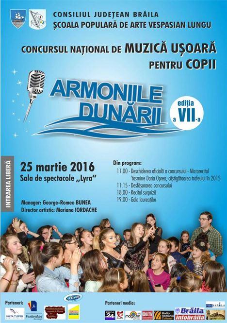 """Concursul National de Muzica Usoara pentru copii """"ARMONIILE DUNARII"""""""