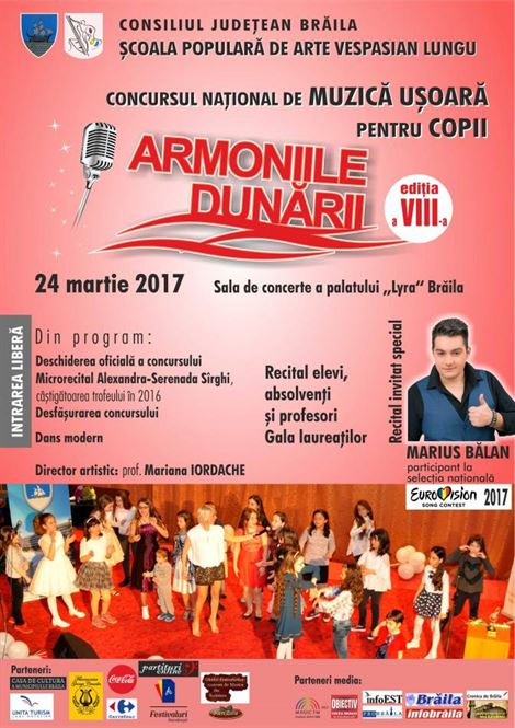 Inscrierile pentru Concursul Armoniile Dunarii s-au prelungit pana pe 16 martie ora 10.00