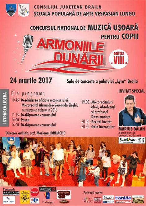 """Vineri are loc cea de-a opta ediţie a Concursului Naţional de Muzică Uşoară pentru Copii """"ARMONIILE DUNĂRII"""","""