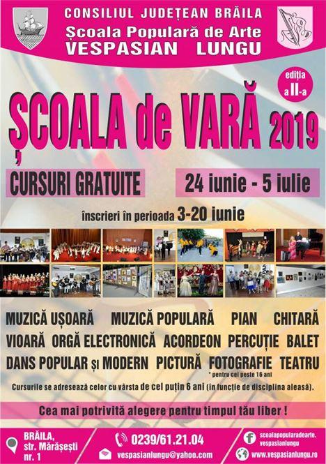 """Cursuri gratuite la Școala Populară de Arte """"Vespasian Lungu"""""""