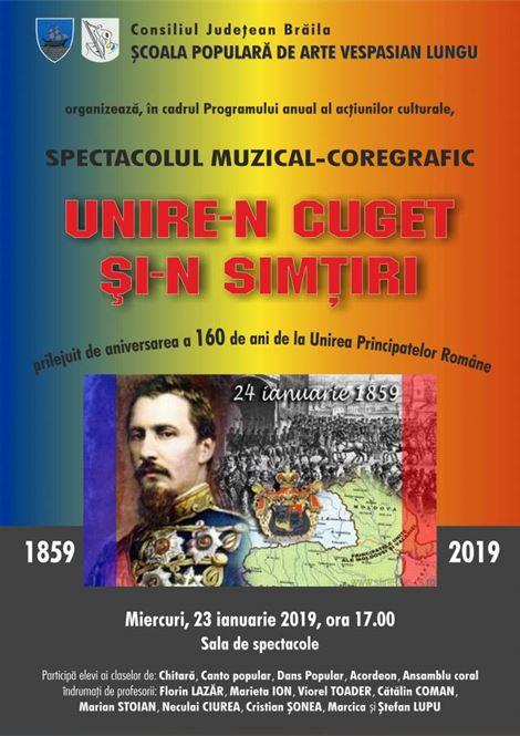 """Unire-n cuget şi-n simţiri"" spectacol muzical dedicat Unirii Principatelor"