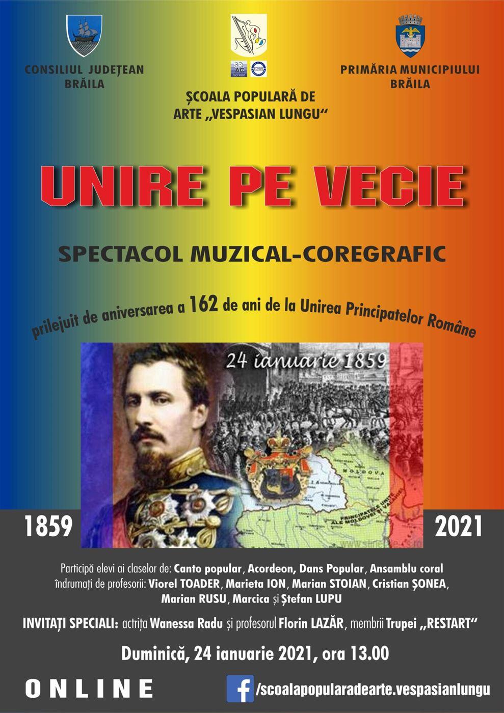 "Spectacol muzical-coregrafic ""Unire pe vecie"", transmis on-line"