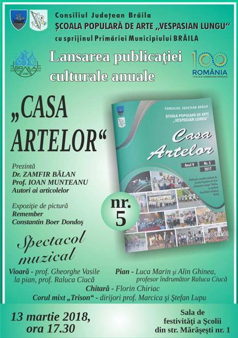 "Publicatia anuala ""Casa Artelor"" va fi lansata la Scoala Populara de Arte ""Vespasian Lungu"" Braila"