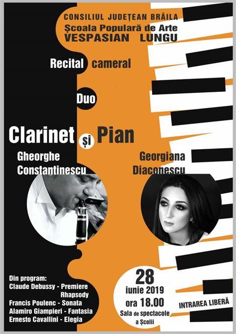 """Recital cameral """"Duo – clarinet şi pian"""""""