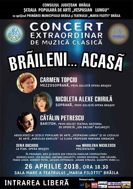 """Concert extraordinar de muzică clasică """"BRĂILENI… ACASĂ"""""""