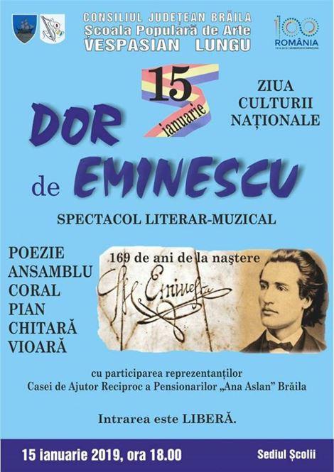 """""""Dor de Eminescu"""" la Școala populară de Arte Vespasian Lungu"""