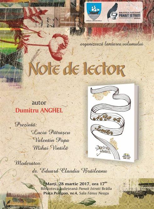 """Lansarea volumului """"Note de lector"""", semnat de Dumitru Anghel"""