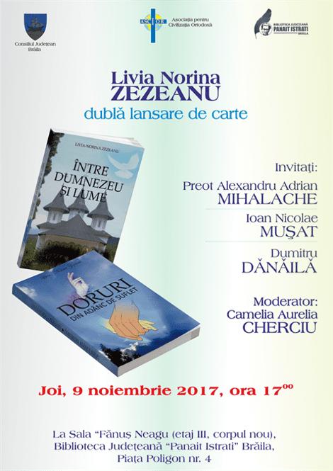 Dubla lansare de carte joi, la Biblioteca JudețeanăPanait IstratiBraila