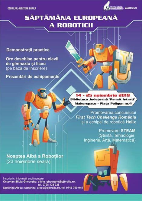 Biblioteca Județeană invită elevii Săptămâna Europeană a Roboticii la Brăila