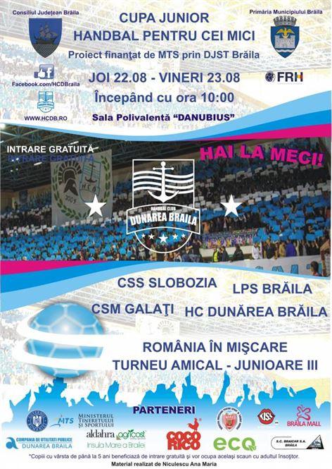 """HC Dunarea Braila organizaza """"CUPA JUNIOR – Handbal pentru cei mici"""""""