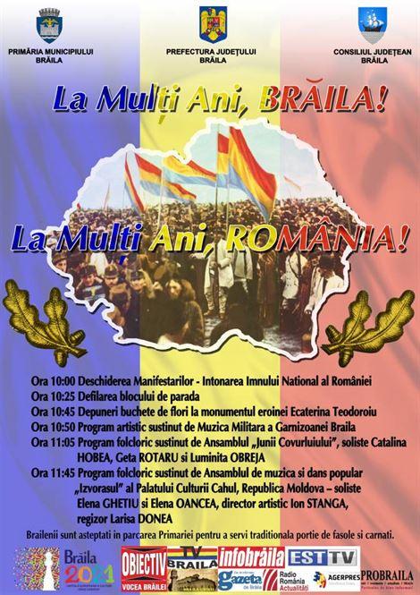 Programul manifestarilor dedicate zilei de 1 Decembrie