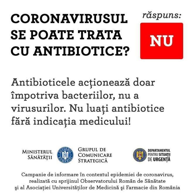 Nu luați antibiotice fără ca acest lucru să vă fie indicat de către un medic