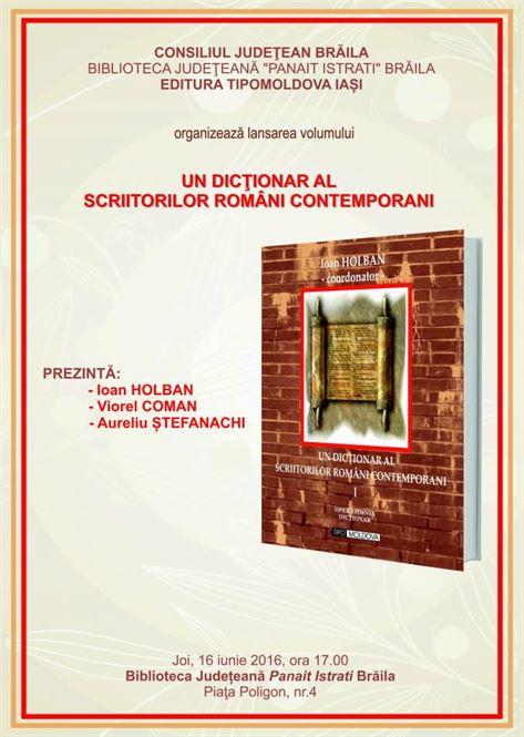 Lansarea volumului I a dictionarului scriitorilor romani contemporani