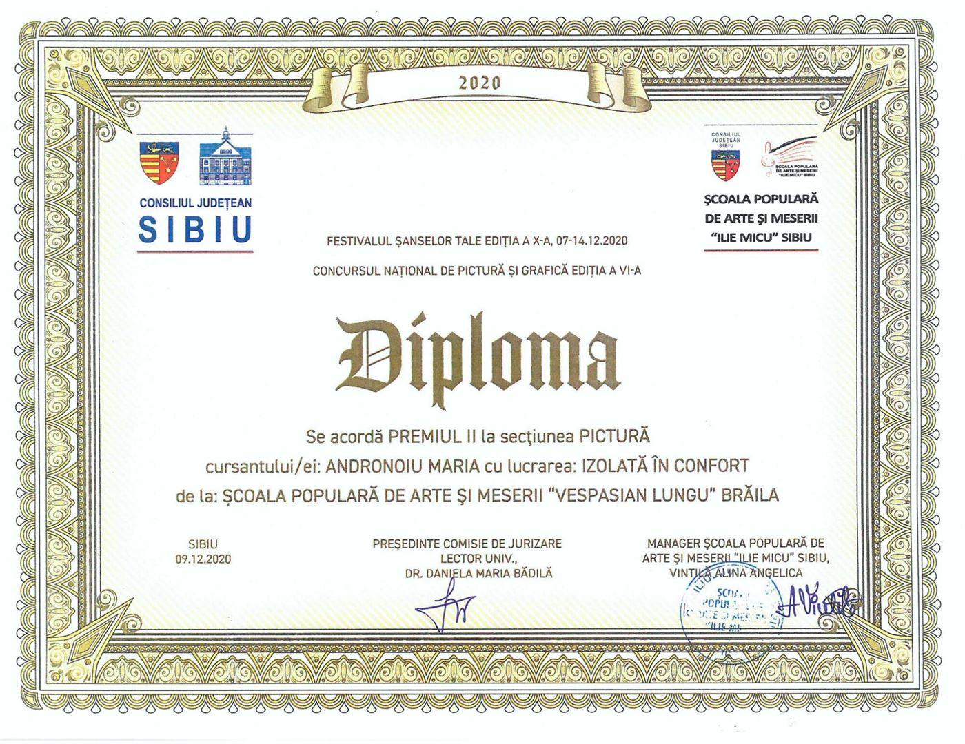 Premiul II pentru o elevă de la Școala Populară de Arte Vespasian Lungu Brăila