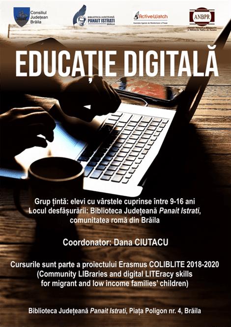 """Biblioteca Județeană """"Panait Istrati"""" Brăila, furnizor de competențe digitale pentru copiii din comunitate"""
