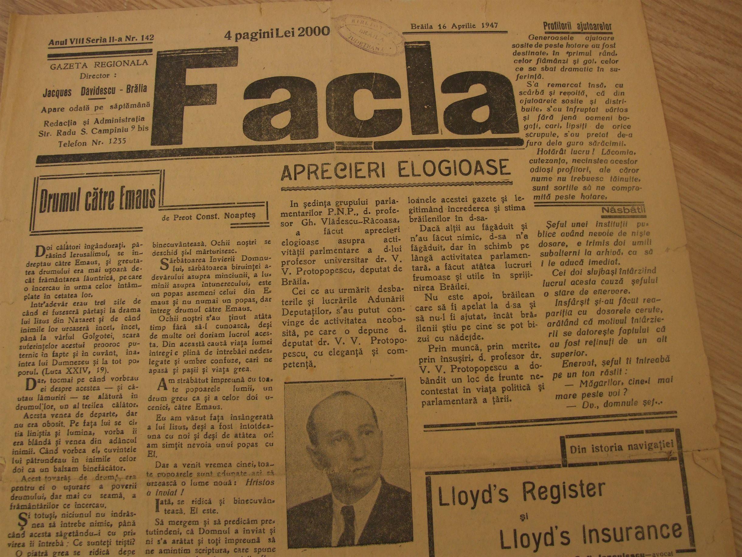 Facla, 16 aprilie 1947 Radu Portocala