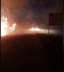 Incendiu de vegetație pe drumul spre Baldovinești