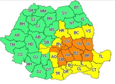 Avertizare cod portocaliu în județul Brăila