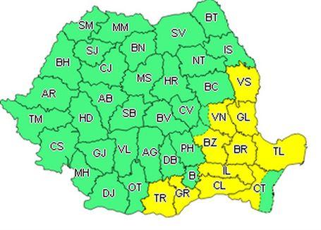 Avertizare meteo cod galben pentru județul Brăila