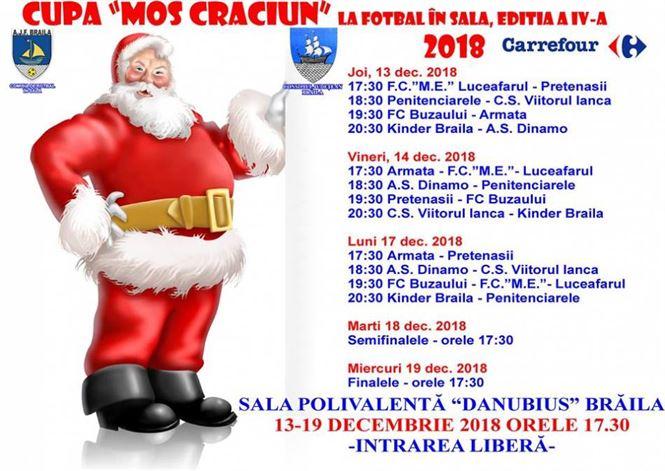 Programul ediției a IV-a a Cupei Moș Crăciun la fotbal în sală