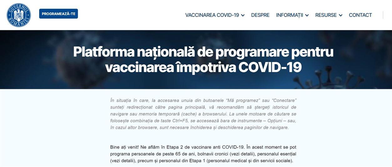 Platforma online pentru programări în etapa a doua de vaccinare este funcțională